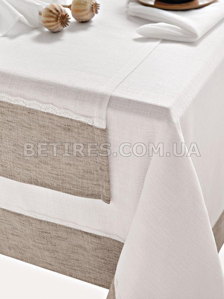 Скатертина із серветками 160x160 ISSIMO NOA WHITE (BEYAZ)+серветки 40х40см-6 шт.