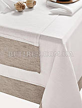 Скатерть с салфетками 160x160 ISSIMO NOA WHITE (BEYAZ)+салфетки 40x40см-6 шт.