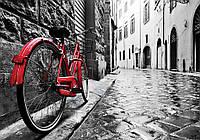 Фотообои 3D улица города (флизелиновые, бумага) 368x254 см Красный велосипед (11675CN)