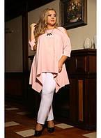 Женская расширенная туника Время цвет пудра / размер 48-72 / большие размеры