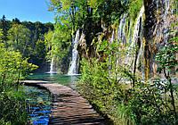 Фотообои 3D водопад 368x254 (флизелин, бумагу) Мост через реку (11845CN)