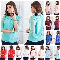 642bc859be2 Красивая женская блузка Vera Moda c кружевными рукавами и брошкой    кофточка   р-ры