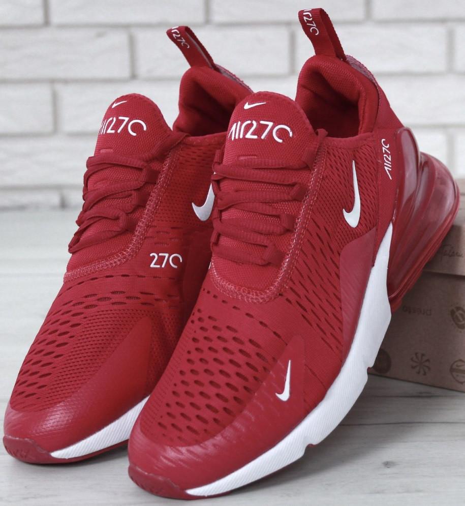 """Чоловічі кросівки Nike Air Max 270 """"Red/White"""" . Живе фото. Топ репліка"""