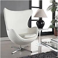 Дизайнерское кресло Эгг Egg chair белая экокожа