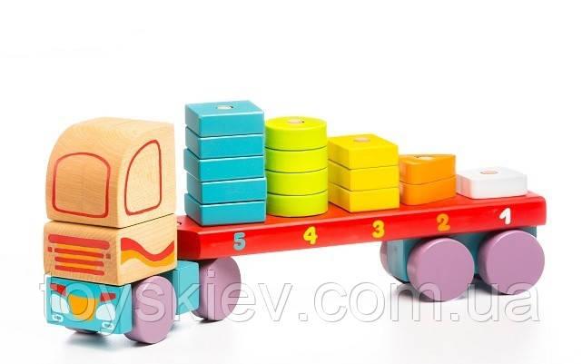 Тягач с геометрическими фигурами LM-13 Деревянная игрушка Левеня Cubika