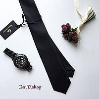 """Стильный узкий галстук """"Story"""" чёрный, в подарочной коробке. Roberto Gabbani"""