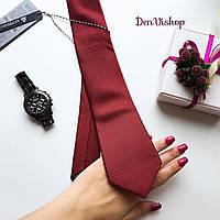 """Стильный галстук """"Story"""" бордовый, в подарочной коробке. Roberto Gabbani"""