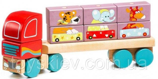 Тягач с Кубиками LM-14 Деревянная игрушка Левеня Cubika