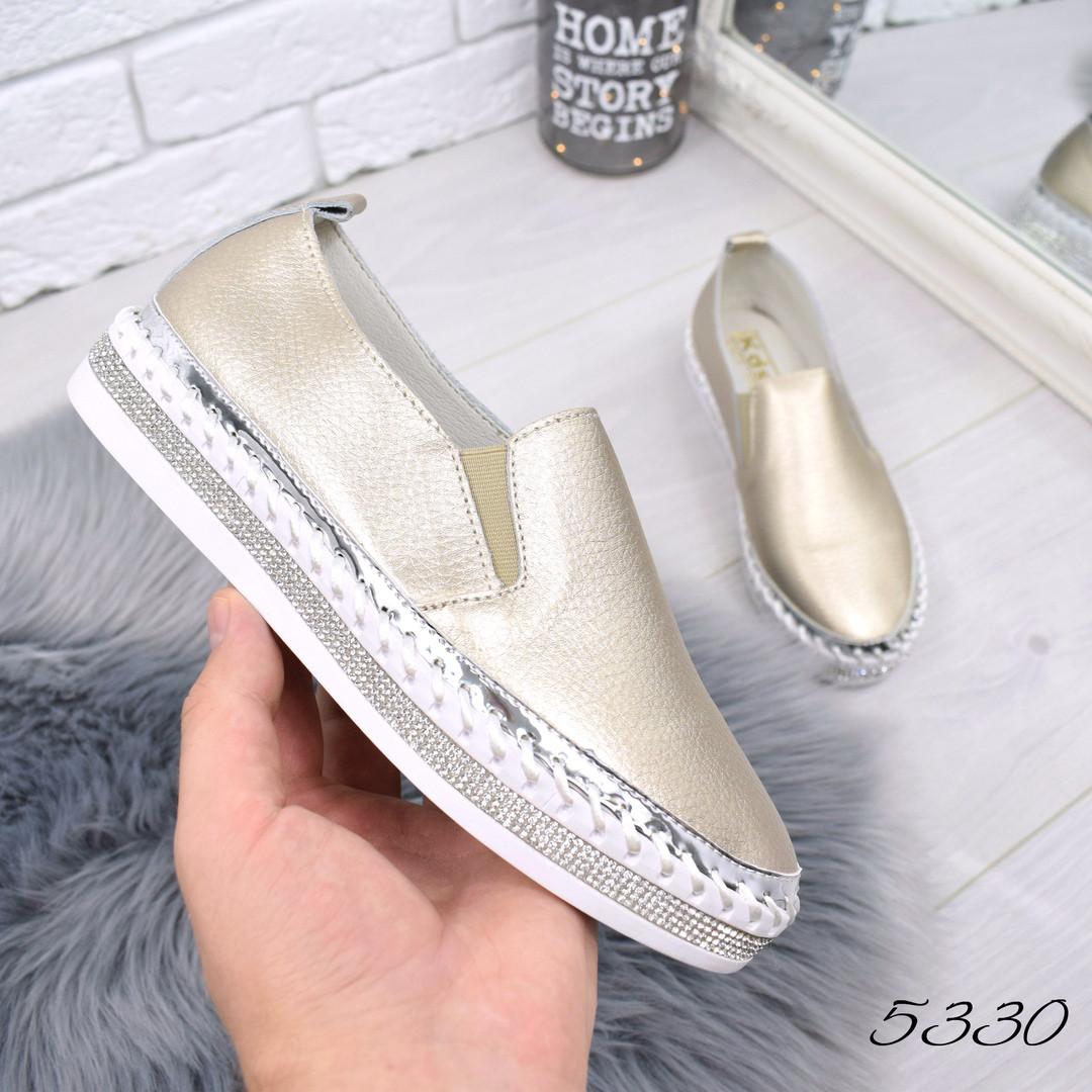 733b1fc8 Купить Слипон Friends бронзу КОЖУ женскую обувь по низкой цене в ...