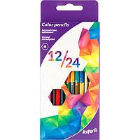 Карандаши цветные Kite 24цв 12шт двухсторонние Геометрия K17-054-3