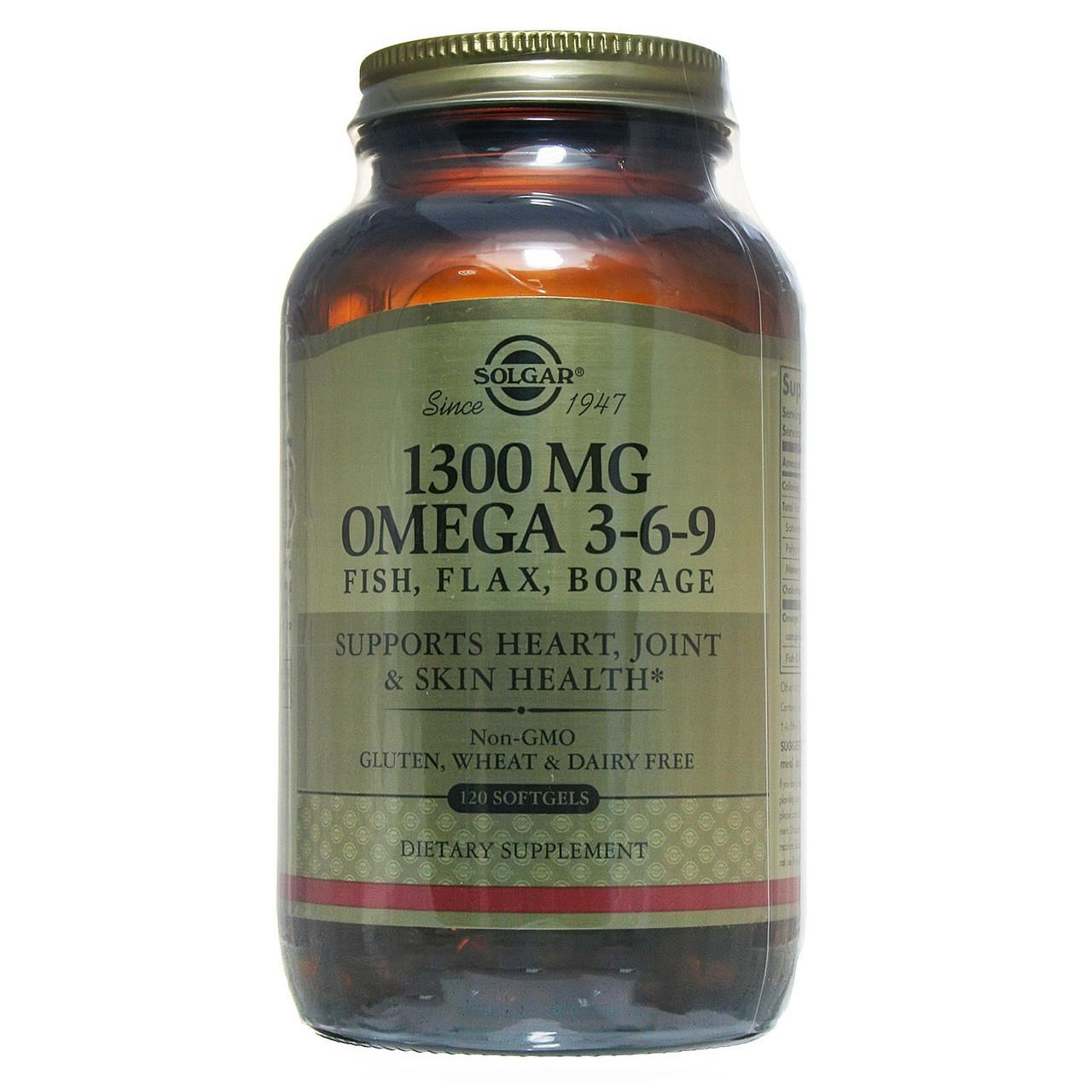 Рыбий жир, Омега 3 6 9 (EFA, Omega 3-6-9), Solgar, 1300 мг, 120 капсул