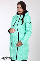 Зимнее двухстороннее пальто для беременных Kristin р. 44-52 ТМ Юла Мама Мята+черный OW-48.051