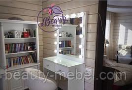 Столик для визажиста с лампами, гримерный столик с зеркалом и подсветкой