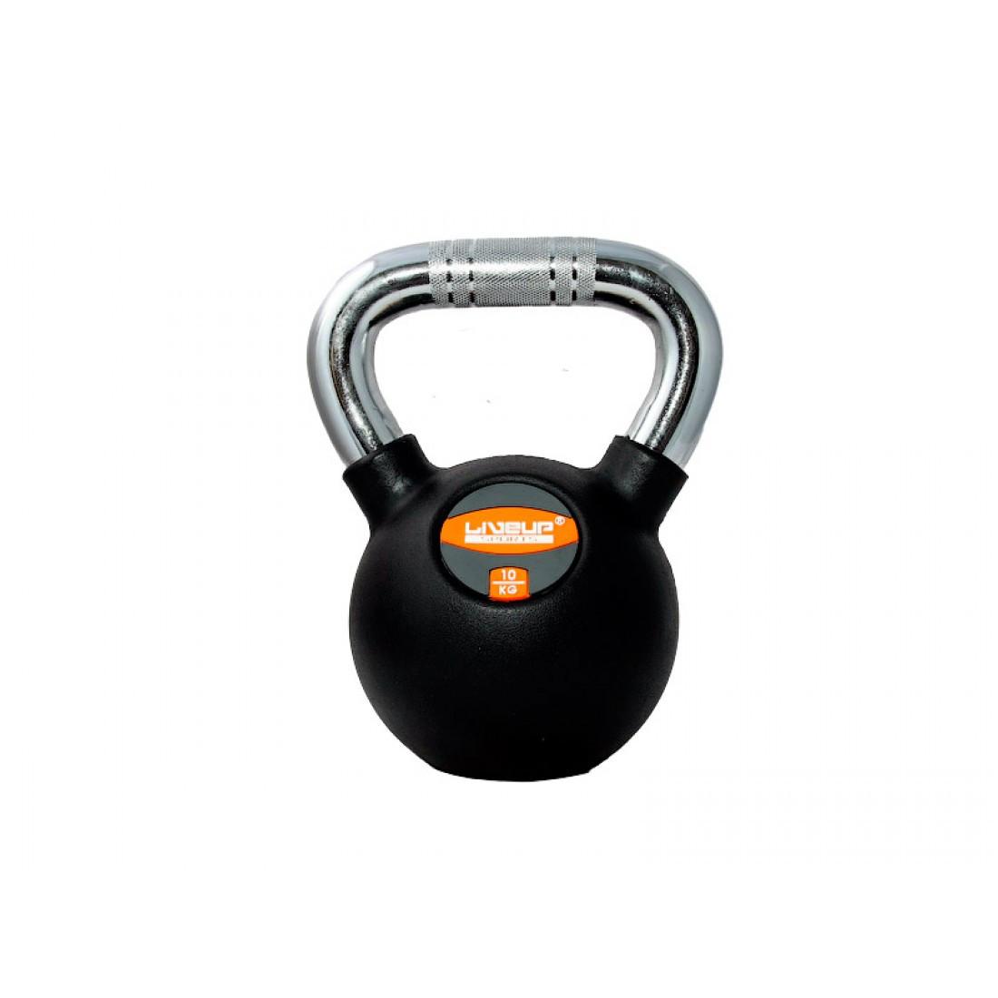 Гиря в резиновой оболочке LiveUp Rubber Kettel Bell, 10 кг