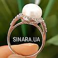 Серебряное родированное кольцо с большим натуральным жемчугом и цирконием - Кольцо с жемчугом серебро, фото 4