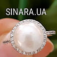 Серебряное родированное кольцо с большим натуральным жемчугом и цирконием - Кольцо с жемчугом серебро, фото 3