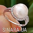 Серебряное родированное кольцо с большим натуральным жемчугом и цирконием - Кольцо с жемчугом серебро, фото 5