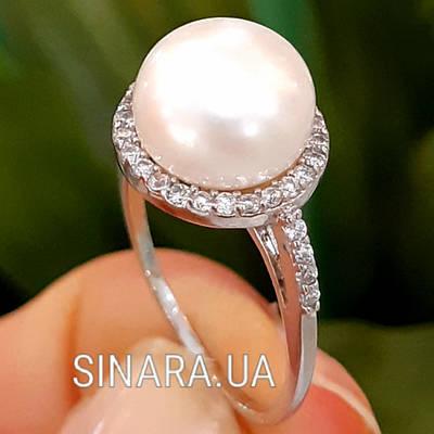 Серебряное родированное кольцо с большим натуральным жемчугом и цирконием - Кольцо с жемчугом серебро