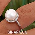 Серебряное родированное кольцо с большим натуральным жемчугом и цирконием - Кольцо с жемчугом серебро, фото 8