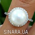 Серебряное родированное кольцо с большим натуральным жемчугом и цирконием - Кольцо с жемчугом серебро, фото 6
