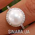 Серебряное родированное кольцо с большим натуральным жемчугом и цирконием - Кольцо с жемчугом серебро, фото 9