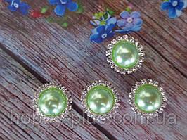 Напів-перли в стразовой оправі, 20 мм, колір світло-зелений