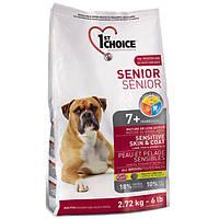 """Cухой корм """"1st Choice Senior Sensitive Skin&Coat"""" 18/10 (для пожилых собак всех пород с чувств. кожей и шерстью), 12 кг"""