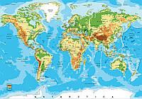 Фотообои готовые 368x254 см Карта мира с уровнями высоты (10250CN)