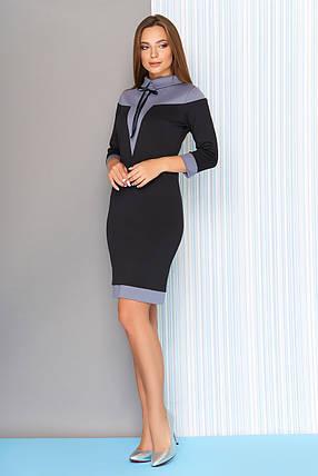 Стильное платье на осень приталенное рукав три четверти с воротником черное, фото 2