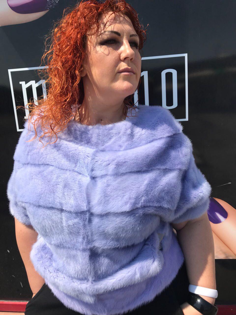 Норковый свитер сиреневый