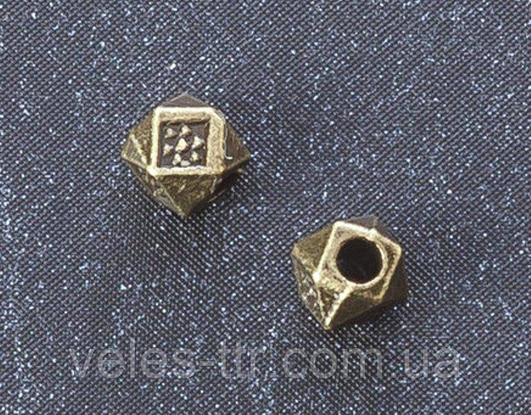 Бусина металлическая Кубик - ромбик бронза 4 мм