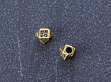 Бусина металлическая Кубик - ромбик бронза 4 мм, фото 2