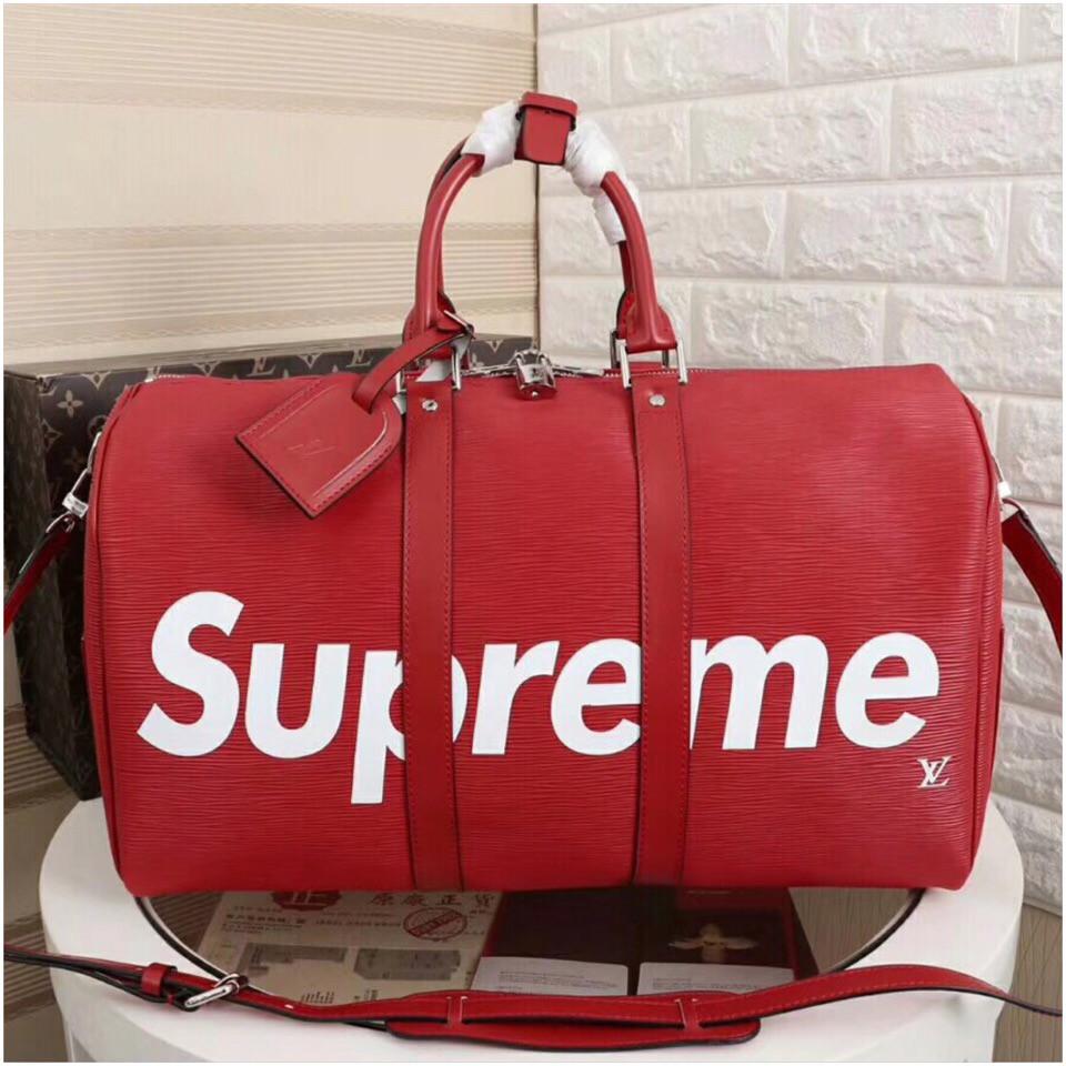 Дорожная сумка Луи Витон, Супрем, 45 см, красная, кожаная реплика