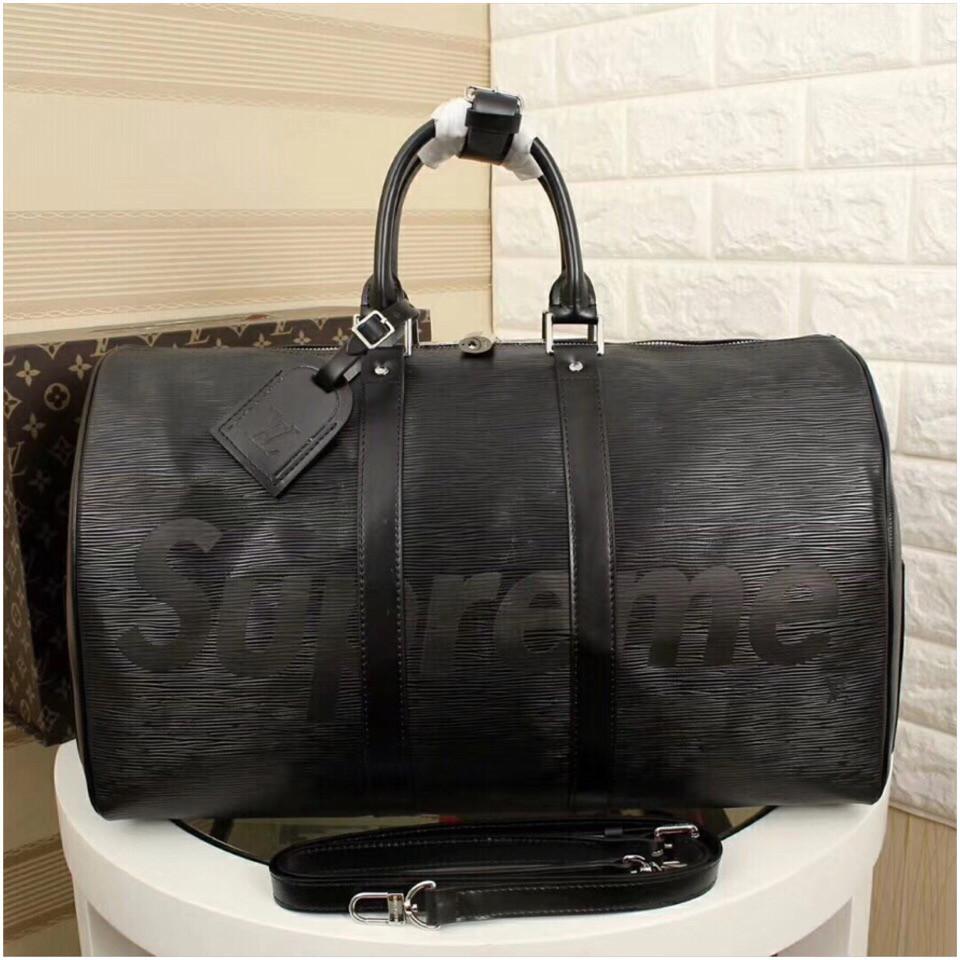 Дорожня сумка Луї Вітон Супрем, 45 см, чорна, шкіряна репліка