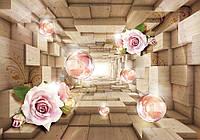 Фотообои цветы 368х254 см 3D туннель с розами (3358P8)