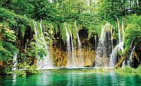 Фотообои 3D природа (флизелин 416х254, бумага 368х254) Густой лес и водопад (1923.20634) Флизелиновые 416х254 см