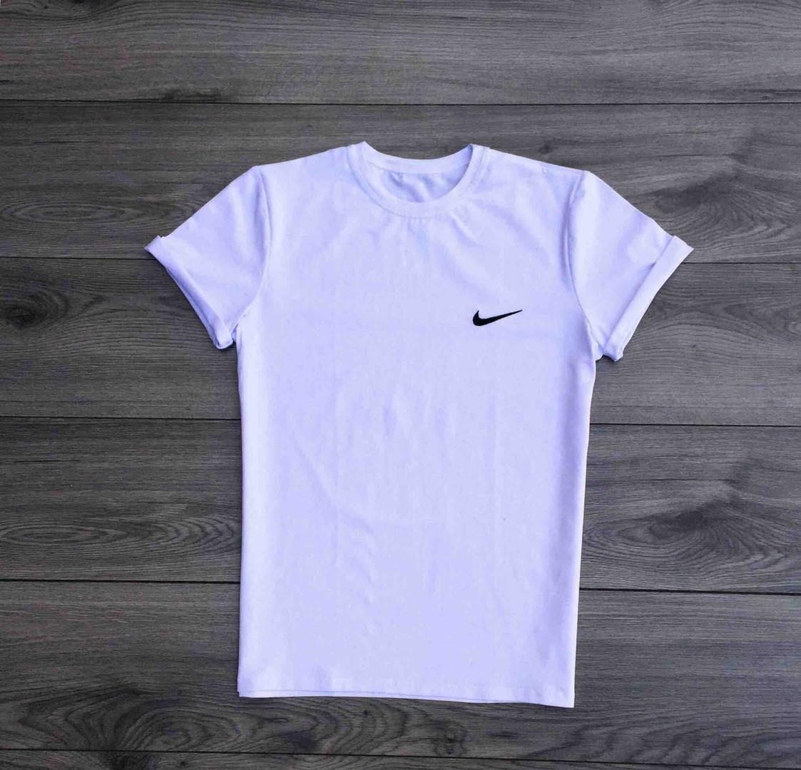 Футболка мужская Nike спортивная с малым принтом (белая), ТОП-реплика