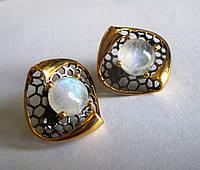 """Шикарные серьги с натуральным  лунным камнем  """"Соты"""" от студии LadyStyle.Biz, фото 1"""