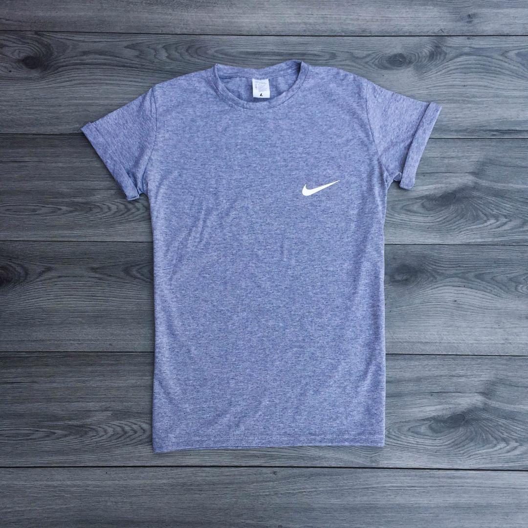 Футболка мужская Nike стильная класика с принтом (серая), ТОП-реплика