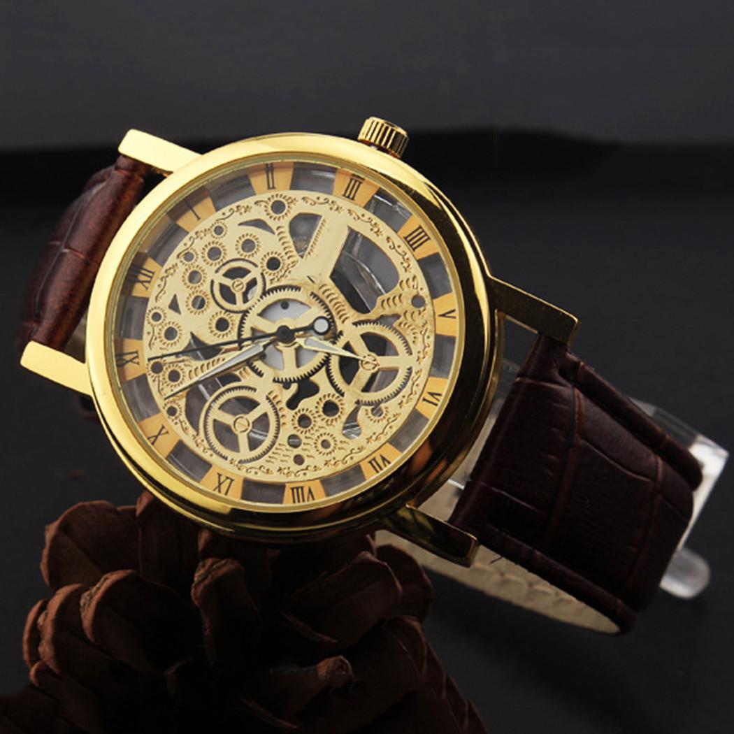 Часы  Скелетон коричневые в золоте
