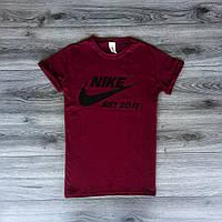 Футболка мужская Nike летняя классика (бордовая), ТОП-реплика