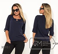 Синяя блуза батал от ТМ Фабрика Моды прямой поставщик Одесса официальный сайт р. 48-56