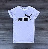 Футболка мужская Puma летняя классика пума в белом цвете, ТОП-реплика