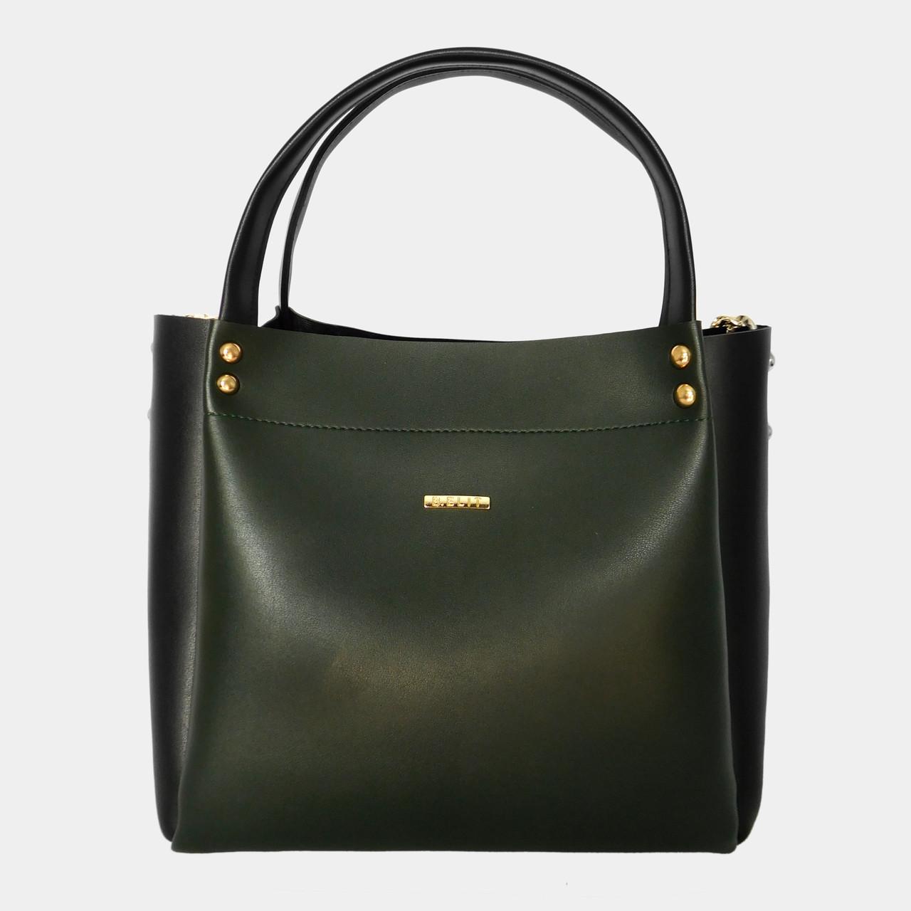 Сумка жіноча зелена з екошкіри (чорні вставки)   Сумка женская зеленая из  экокожи (черный вставки) b18876ccc6927