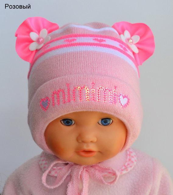 Красивая шапочка для новорожденной девочки