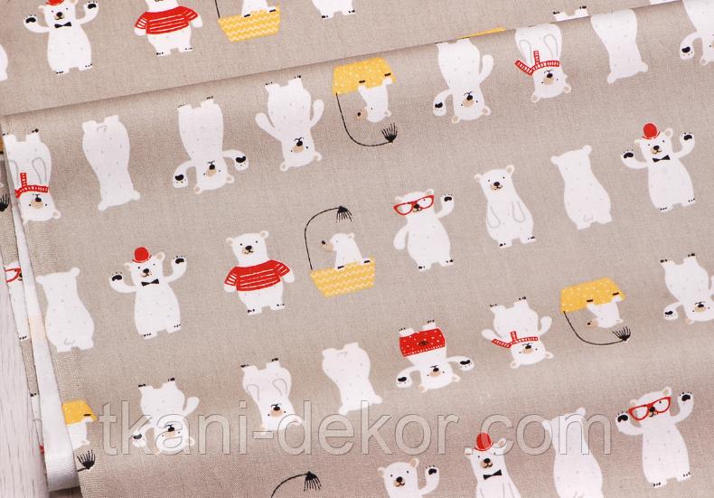Сатин (хлопковая ткань) мишки в красных штанишках