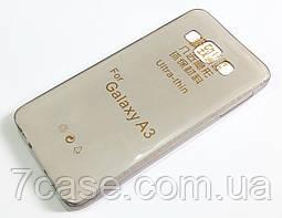 Чехол для Samsung Galaxy A3 A300 (2015) силиконовый ультратонкий прозрачный серый