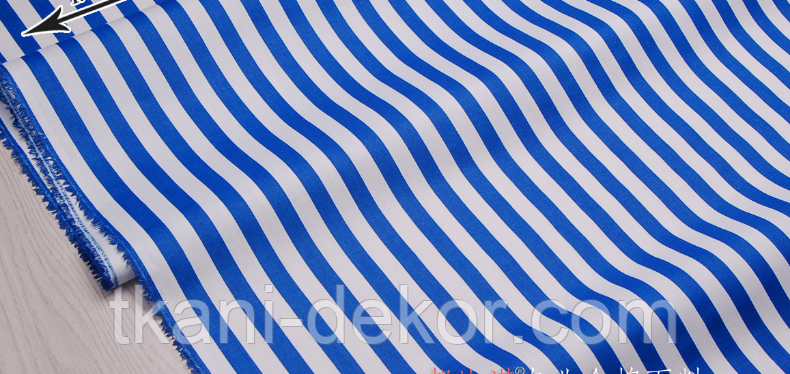 Сатин (бавовняна тканина) синя смужка