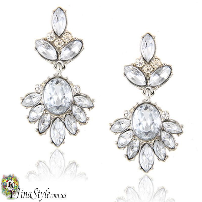 Серьги капельки прозрачные сережки Винтаж Ретро кристалл вечернее на выпускной свадебные кристаллы белые
