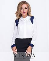 1023725463ce Оригинальная блуза с контрастными вставками и украшением на воротнике